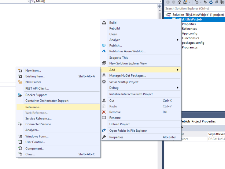 "Image of context menus for a Visual Studio project with ""Add"" and ""Reference"" highlighted"