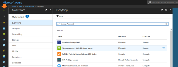 "The Azure Portal's ""Add Resource"" search filter, showing results for ""Storage Account."""