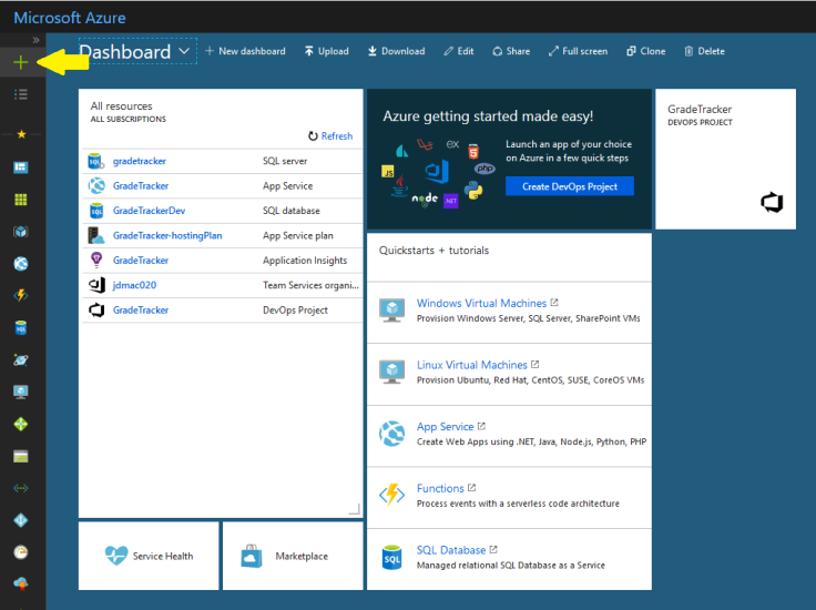 A view of the Azure Portal, with a yellow arrow pointing at the add-resource button