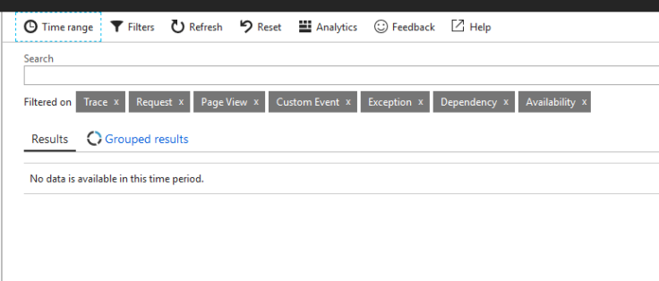 Application Insights Search blade showing no data