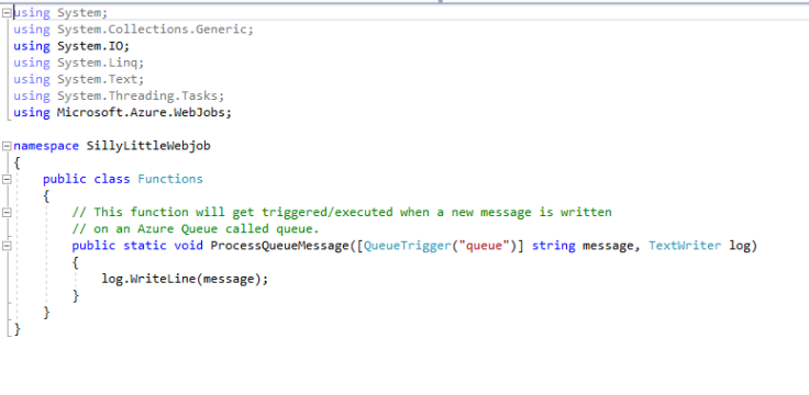 A C# class showing an example Azure Webjob function