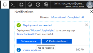 "Image of an Azure ""Deployment Succeeded"" notification"