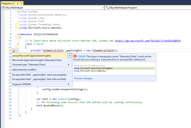 "Image of a C# class in Visual Studio with Intellisense ""Quick Actions"" open to correct a missing Using statement"