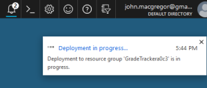 "Image of an Azure ""Deployment In Progress"" notification"