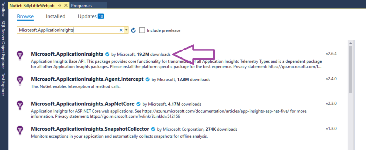 An image of NuGet search results with the top one indicated by a purple arrow