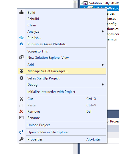 "Image of the context menu for a Visual Studio project with the ""Manage NuGet Packages"" option highlighted"