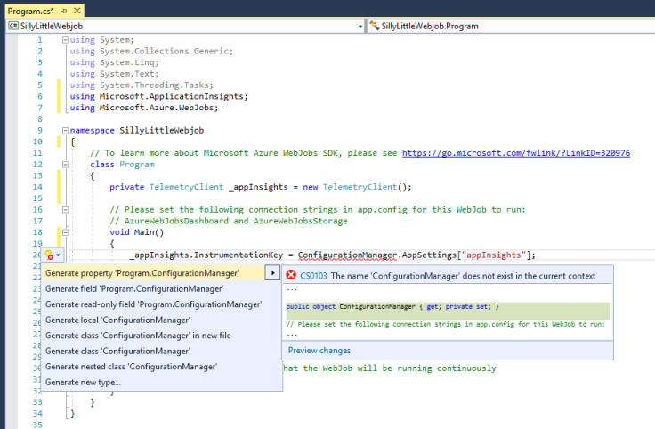 "Image of a C# class in Visual Studio with Intellisense ""Quick Action"" help menus open"