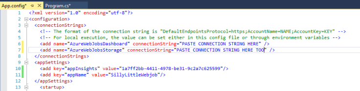 App.config file indicating where to paste the Azure Storage Account connection string