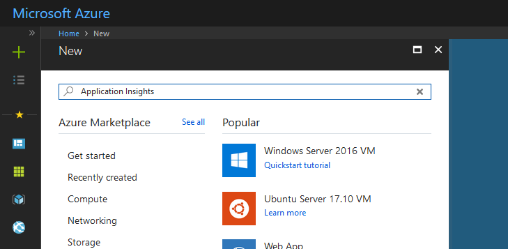 "Image of the Add New Resource slide out menu window with the search bar filled in with ""Application Insights"""