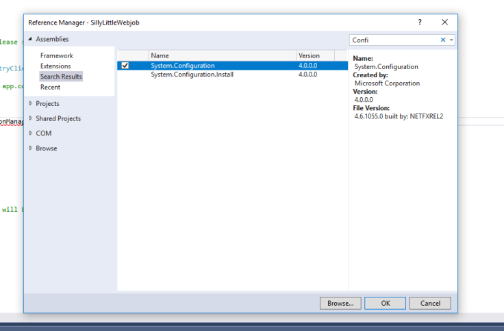 A reference dialogue box in Visual Studio with Confi in the search box and the results displayed