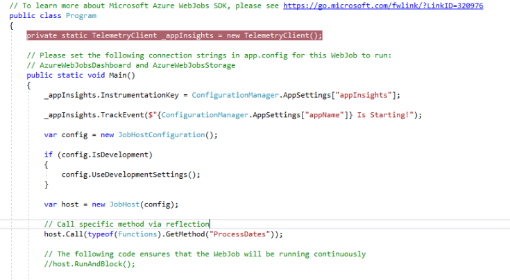 C# code showing a method being called through reflection