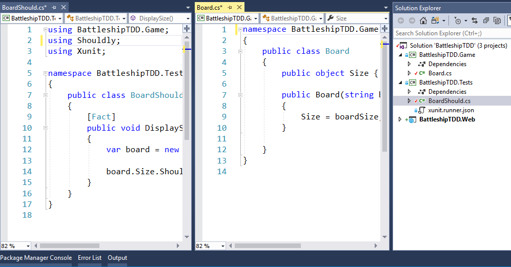 A screen shot of Visual Studio 2017 showing two classes and a solution explorer