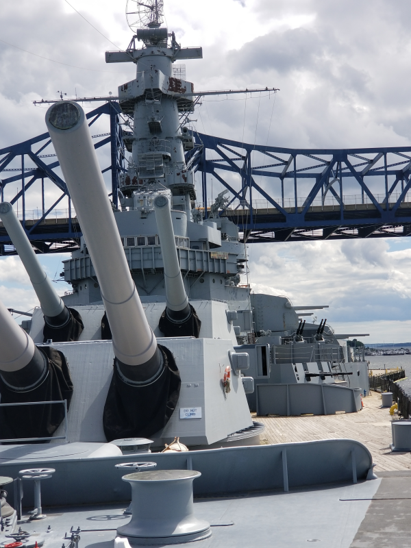 The two forward 16 gun batteries of the USS Massachussetts